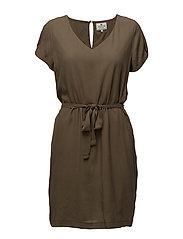 Kristina Solid Dress - HUNTER GREEN