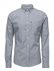 Peter Lt Oxford Shirt - DK BLUE/WHITE STRIPE