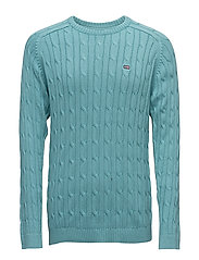 Andrew Cotton Cable Sweater - PORCELAIN AQUA