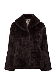 Elisa Faux Fur Jacket - COFFEE BEAN