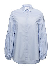 Ophelia Poplin Blouse - BLUE/WHITE STRIPE