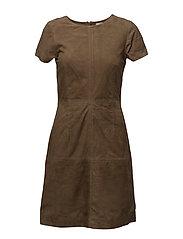Michaela Suede Dress - HUNTER GREEN