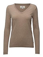 Madaleine V-neck Sweater - COBBLESTONE BEIGE