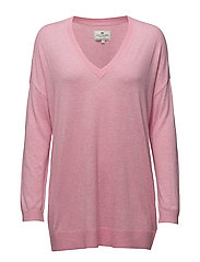Ana Cotton Bamboo V-neck Sweater - Chateau Rose Pink