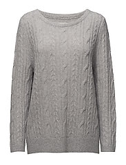 Stella Mohair Cable Sweater - Lt Warm Gray Mel