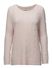 Stella Mohair Cable Sweater - Shell Pink