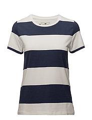 Rachel Striped Tee - Blue/White Block Stripe