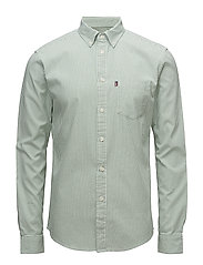 Kyle Oxford Shirt - Green/White Stripe