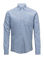 Peter Lt Flannel Shirt - Light Blue Melange
