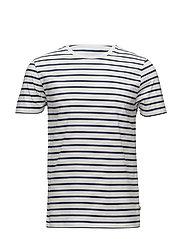 Mick Striped Tee - White/Blue Stripe