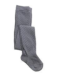 Silje Stockings - STONE GREY W. BLACK DOTS