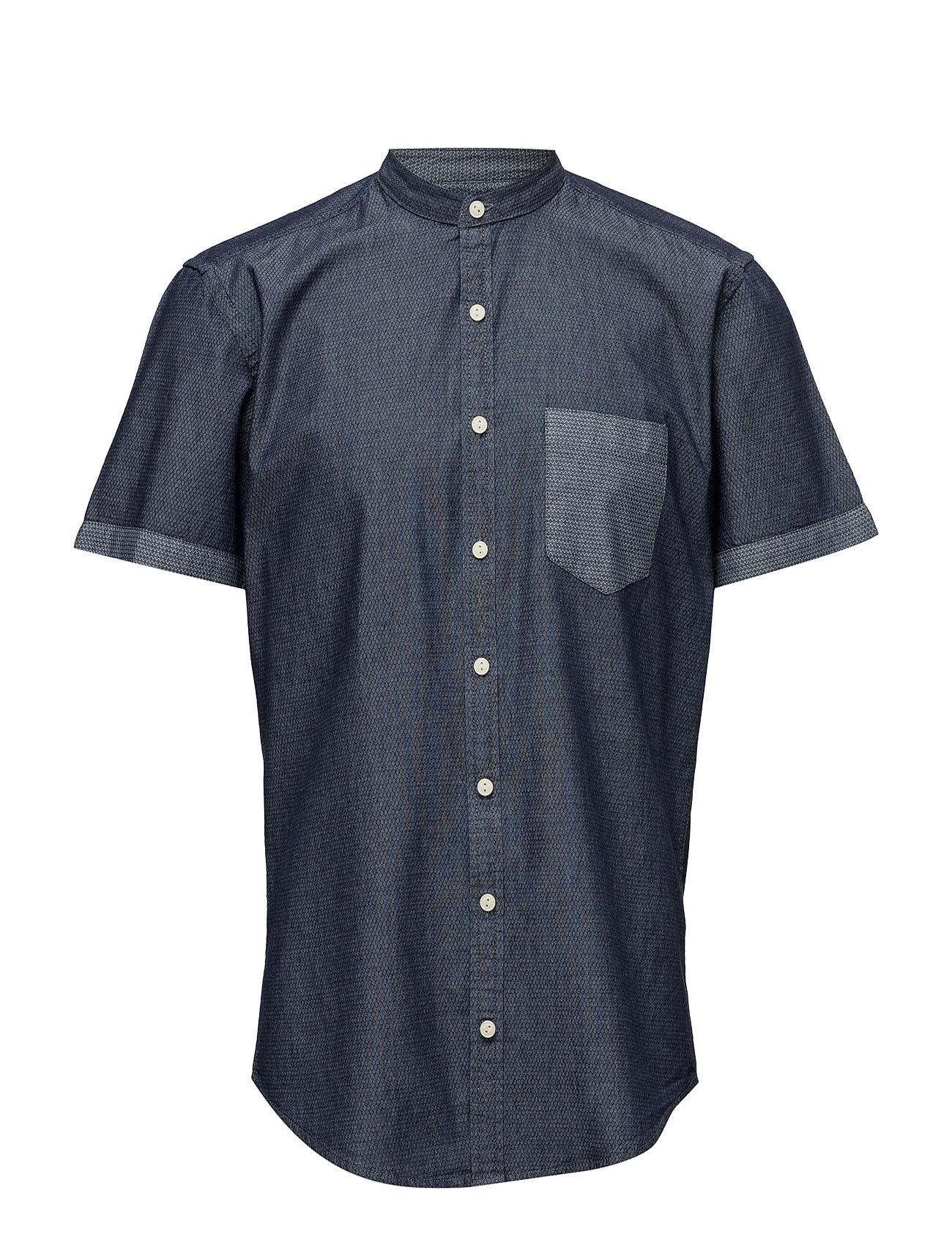 Printed Chambray Shirt S/S Lindbergh Kortærmede til Herrer i