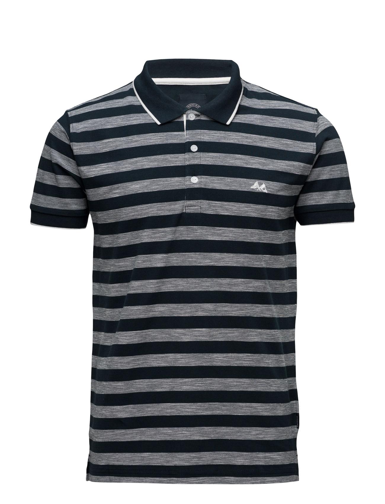 Stripedpolopiqueå«S/S Lindbergh Kortærmede polo t-shirts til Mænd i Blå