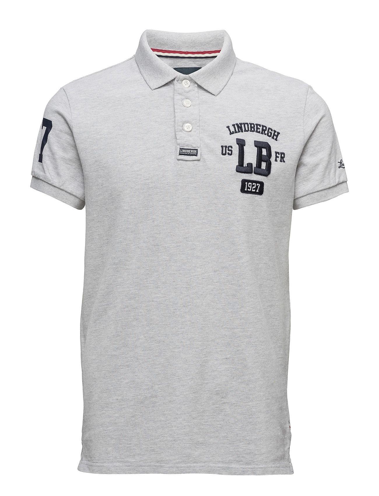 ApplicatedpolopiquÈS/S Lindbergh Kortærmede polo t-shirts til Herrer i Grey Mel