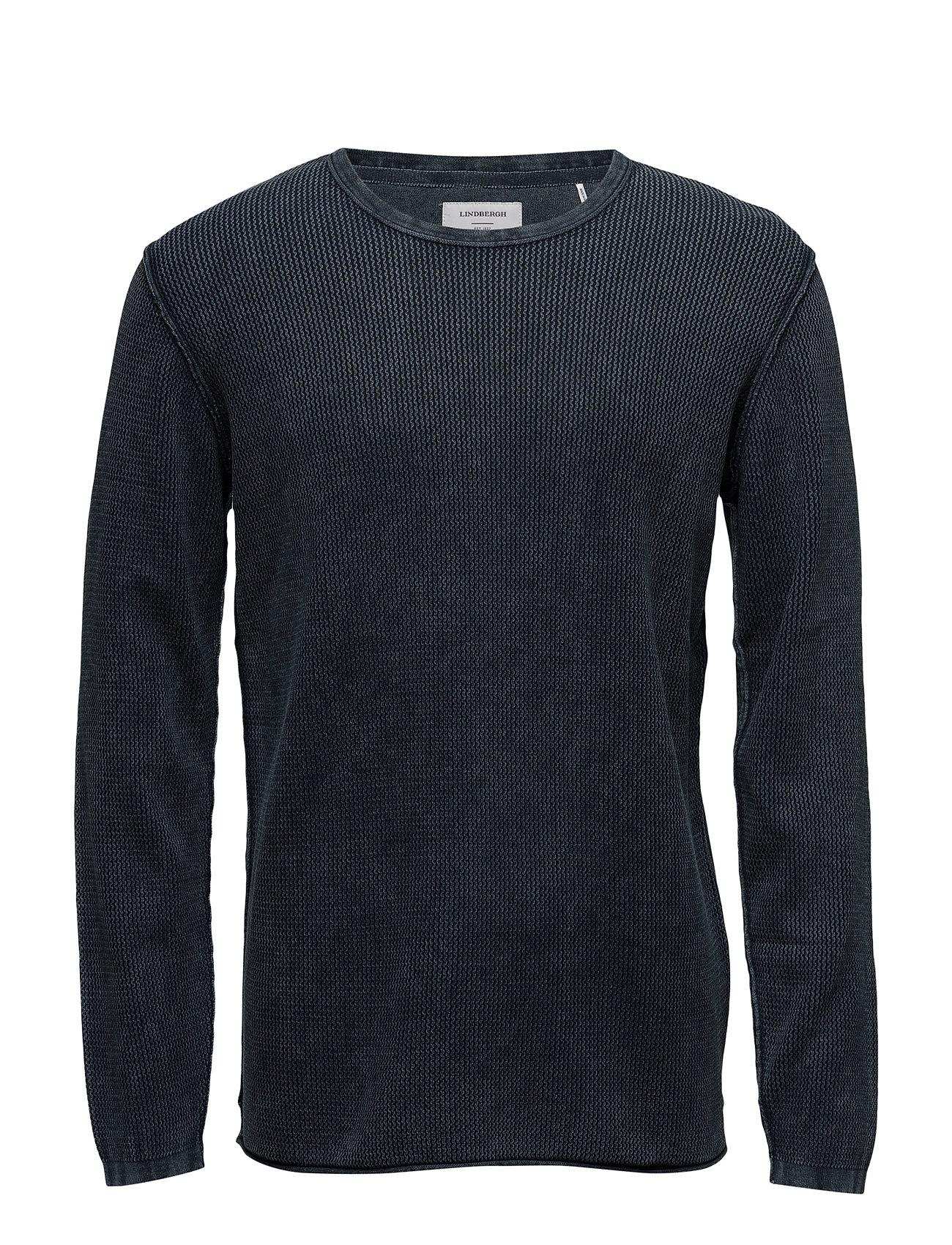 Acidwashknit Lindbergh T-shirts til Mænd i Navy blå