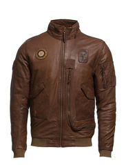 Leather pilot jacket - BROWN