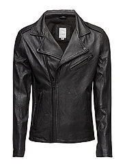 Leatherbikerjacket - BLACK