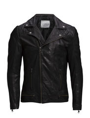 Classic leather biker jacket - BLACK
