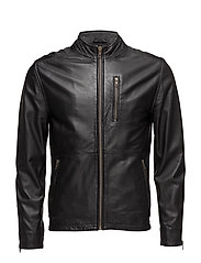Stand-up collar jacket w/zip - BLACK