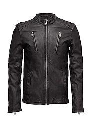 Leatherbikerjacket - BLACK