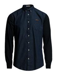 Block shirt l/s - DK BLUE