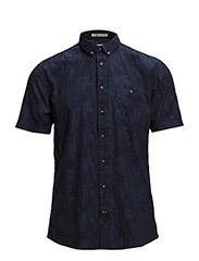 Indigo floral shirt S/S - BLUE