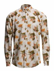 Flower printed shirt L/S - ORANGE