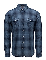 Checked double face shirt L/S - BLUE