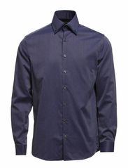 Double collar L/S shirt - DK BLUE