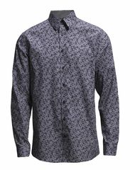 Shirt with small flowers L/S - DK GREY