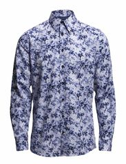 A.O.P shirt with flowers L/S - LT BLUE