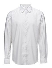 Shirtwithjacquard,L/S - WHITE