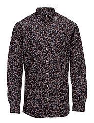 Floral printed shirt L/S - BLACK