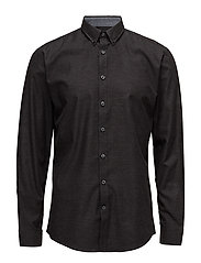 HerringboneshirtL/S - BLACK