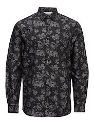 Jacquard shirt L/S - BLACK