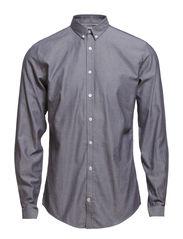 Oxfordshirt,L/S - DK GREY