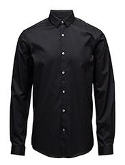 PlaintwillstretchshirtL/S - BLACK