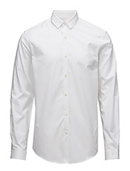 PlaintwillstretchshirtL/S - WHITE