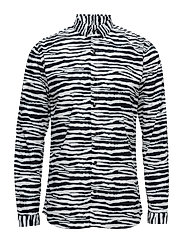 ZebraprintedshirtL/S - BLACK