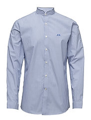 Over sized striped shirt L/S - LT BLUE
