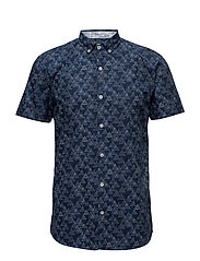 All over printed shirt S/S - DK BLUE