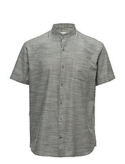 Mandarin collar shirt S/S - FADED ARMY