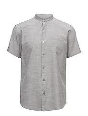 Mandarin collar shirt S/S - LT GREY