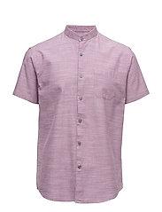 Mandarin collar shirt S/S - LT PLUM