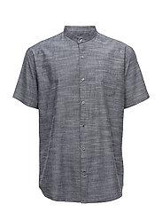 Mandarin collar shirt S/S - NAVY