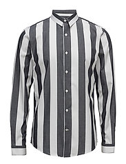 Wide striped shirt L/S - BLACK
