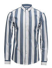 Wide striped shirt L/S - DUSTY BLUE