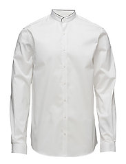 Plain China collar shirt L/S - WHITE