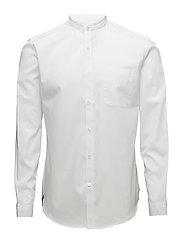 Plain mandarin collar shirt LS - WHITE