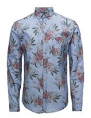 Chambray aop shirt L/S - BLUE